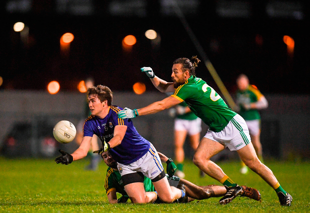 Peter Hanley of Longford in action against Eoin Lynch of Meath. Photo by Harry Murphy/Sportsfile