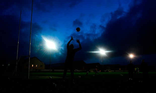 Pat Farrell of Longford warms up prior to the match. Photo by Harry Murphy/Sportsfile