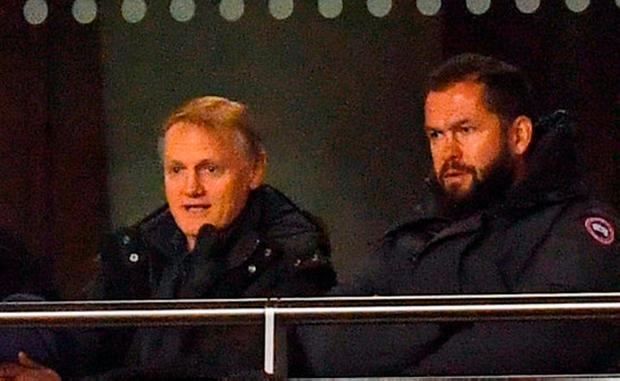 Ireland head coach Joe Schmidt and his heir apparent Andy Farrell watch from the stands. Photo: Ramsey Cardy/Sportsfile