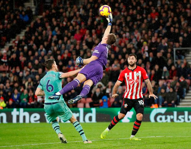 Arsenal goalkeeper Bernd Leno mistimes a cross allowing Charlie Austin to nod in the winner for Southampton. Photo: Action Images via Reuters/John Sibley