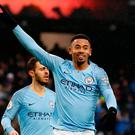 Manchester City's Gabriel Jesus celebrates after scoring his second goal of the game. Photo: Action Images via Reuters/Jason Cairnduff
