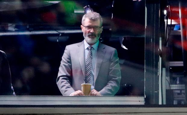 Roy Keane looks on from a box in the stands during the Liverpool and Manchester United game at Anfield. Photo: Action Images via Reuters/Carl Recine