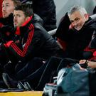 Red peril: Manchester United boss Jose Mourinho shows his frustration alongside his assistant Michael Carrick. Photo: Action Images via Reuters/Carl Recine