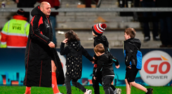 Rory Best with his children Penny, Ben and Richie, and nephew Jack Best, after Ulster's victory over Scarlets at the Kingspan Stadium in Belfast. Photo by Oliver McVeigh/Sportsfile
