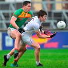 Kevin Feely of Kildare battles for possession with Carlow's Brendan Murphy in Newbridge on Saturday. Photo by Matt Browne/Sportsfile