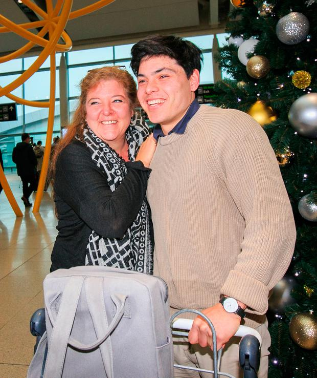 Relief: Seán Binder and his mother Fanny reunited for Christmas at Dublin Airport