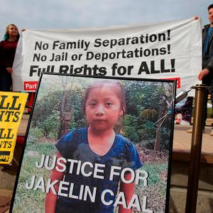 A picture of Jakelin, a 7-year-old girl who died in U.S. custody after crossing illegally from Mexico to the U.S, is seen during a protest to demand justice for her, in El Paso, Texas, U.S. December 16, 2018. Photo: Reuters