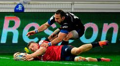 Andrew Conway of Munster scores a try which was subsequently disallowed after a review by the TMO during the Heineken Champions Cup Pool 2 Round 4 match between Castres and Munster at Stade Pierre Fabre in Castres, France. Photo by Brendan Moran/Sportsfile
