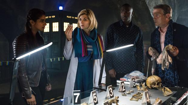 Mandip Gill as Yasmin, Jodie Whittaker as the Doctor, Tosin Cole as Ryan and Bradley Walsh as Graham in Doctor Who (Image: PA)