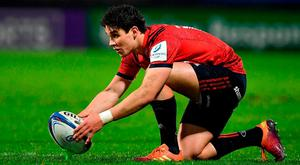 In the red zone: Joey Carbery might have been off with his radar last Saturday, but if he can learn from bad days like this it will ultimately make him a better player for Munster and Ireland. Photo: Brendan Moran/Sportsfile