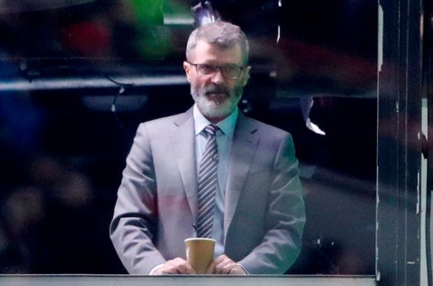 Keane looking on from the TV gangtry. Photo: REUTERS