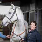 Katie Walsh with husband Ross O'Sullivan and Baie Des Iles at their base near Kill, County Kildare. Photo: Patrick McCann