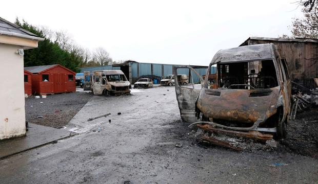 Burnt out vans at the property near Strokestown