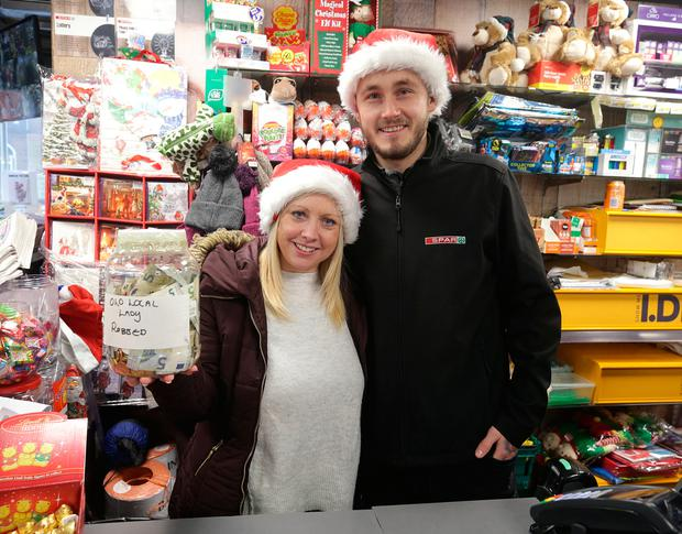 Manager Karen Fox and Graham Keogh from the spar shop in Summerhill, they are raising money for a local elderly lady who was robbed. Picture credit; Damien Eagers/INM