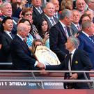 Jose Mourinho shakes hands with Bobby Charlton after winning the Community Shield in 2016