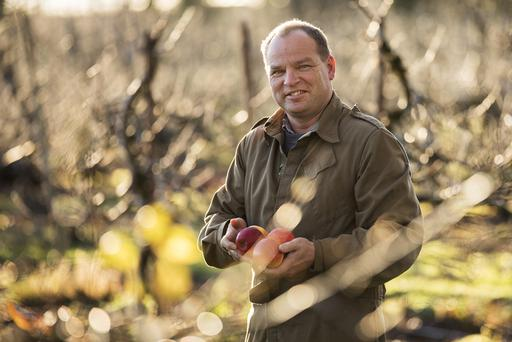 Con Traas in the orchard on the farm.