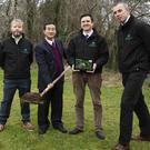 Joe Desbonnet, Farmeye Co-Founder Dr. Chaosheng Zhang, NUIG Geography Dept., Dr. Eoghan Finneran, Farmeye CEO and Co-Founder and Brendan Allen, Farmeye Co-Founder. Photo:Andrew Downes, Xposure