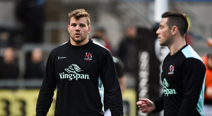 1 December 2018; Jordi Murphy, left, and John Cooney of Ulster the Guinness PRO14 Round 10 match between Ulster and Cardiff Blues at Kingspan Stadium in Belfast. Photo by Oliver McVeigh/Sportsfile