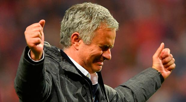 High point: Jose Mourinho celebrates Manchester United's victory in the Europa League final in Stockholm against Ajax in May 2017. Photo: Mike Hewitt/Getty Images