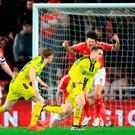 Burton Albion's Jake Hesketh (right) celebrates scoring his side's first goal of the game during the Carabao Cup, Quarter Final match at the Riverside Stadium, Middlesbrough. Tuesday December 18, 2018. Owen Humphreys/PA Wire.
