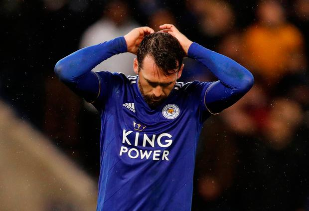 Soccer Football - Carabao Cup Quarter-Final - Leicester City v Manchester City - King Power Stadium, Leicester, Britain - December 18, 2018 Leicester City's Christian Fuchs reacts after missing a penalty during the shootout. REUTERS/Darren Staples