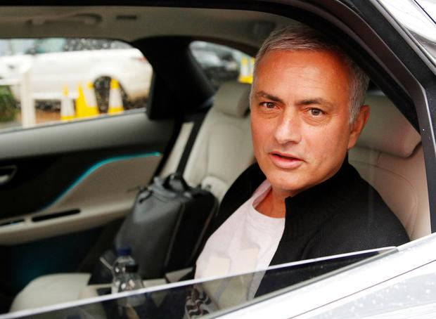 Jose Mourinho is driven away from his accommodation at the five-star Lowry Hotel in Manchester yesterday. Photo: Reuters