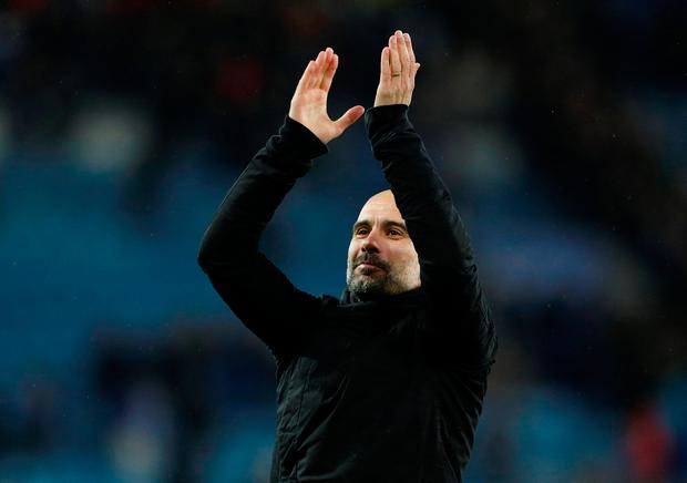 Manchester City manager Pep Guardiola celebrates after the match. Photo: Action Images via Reuters