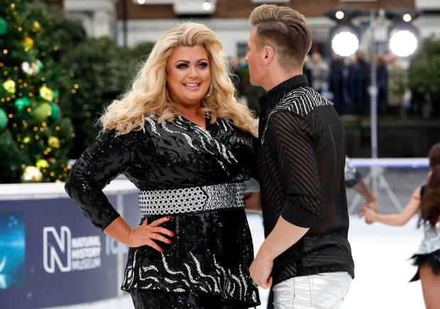 Gemma Collins (left) and Matt Evers during the press launch for the upcoming series of Dancing On Ice at the Natural History Museum Ice Rink in London. Picture date: Tuesday December 18, 2018. Photo credit should read: David Parry/PA Wire