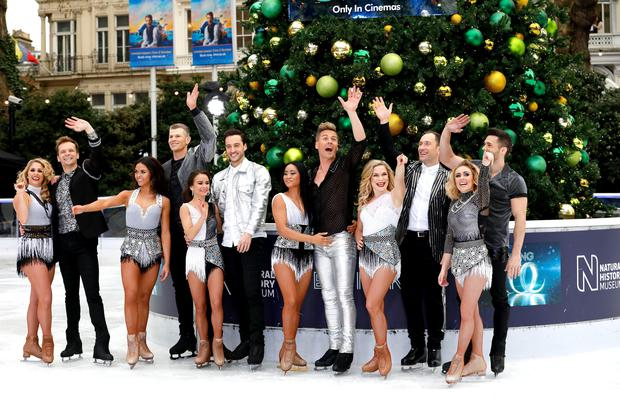 Dancers Alex Murphy (left to right), Mark Hanretty, Vanessa Bauer, Hamish Gaman, Carlotta Edwards, Alexander Demetriou, Brandee Malto, Matt Evers, Alexandra Schauman, Lukasz Rozycki, Brianne Delcourt, Sylvain Longchambon during the press launch for the upcoming series of Dancing On Ice at the Natural History Museum Ice Rink in London. Picture date: Tuesday December 18, 2018. Photo credit should read: David Parry/PA Wire
