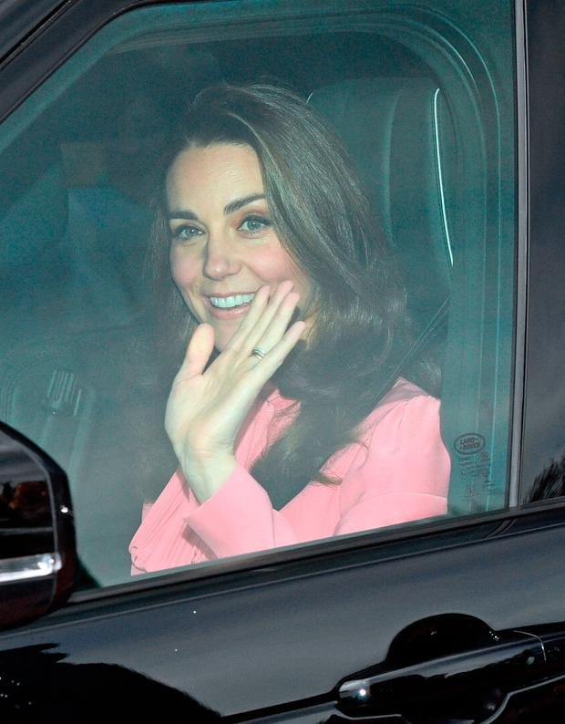 The Duchess of Cambridge arriving for the Queen's Christmas lunch at Buckingham Palace, London