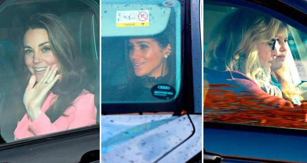 (L to R) Kate Middleton, Meghan Markle and Sophie, Countess of Wessex entering Buckingham Palace for the annual Christmas lunch