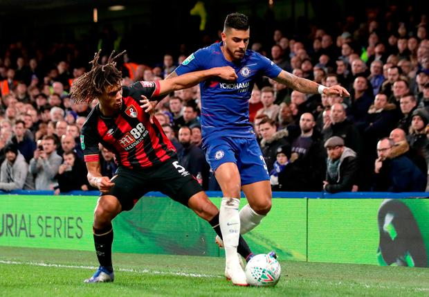 Bournemouth's Nathan Ake (left) and Chelsea's Emerson Palmieri battle for the ball. Photo: John Walton/PA Wire