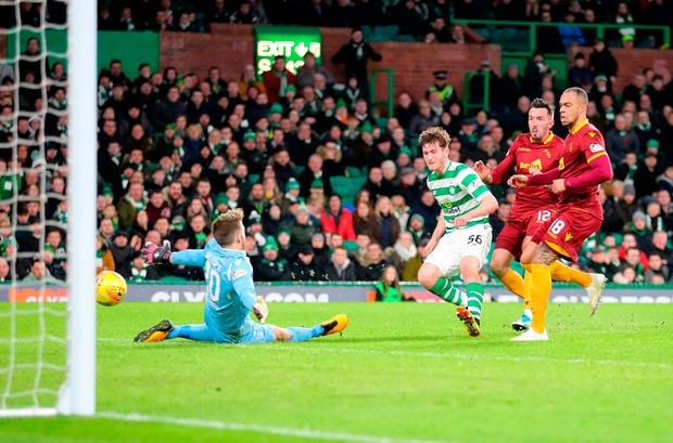 Celtic's Anthony Ralston scores his side's first goal. Photo: Jane Barlow/PA Wire