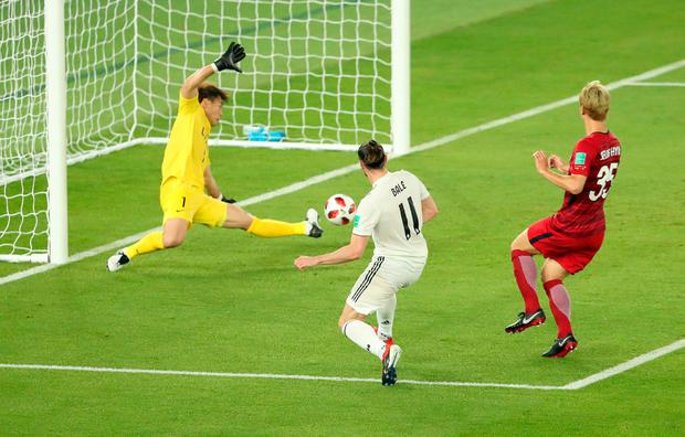 Real Madrid's Gareth Bale scores their first goal. Photo: REUTERS/Ahmed Jadallah
