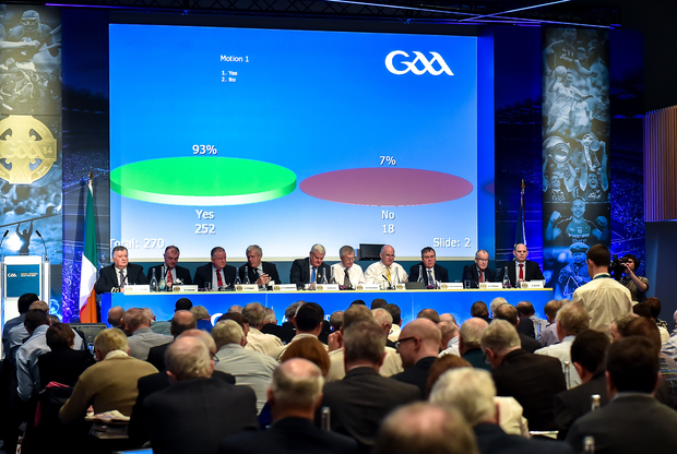 The result of motion 1 prohibiting the sponsorship of any GAA competition, team, playing gear or facility by a betting company, that was passed, displayed in the hall during the GAA Annual Congress at Croke Park in Dublin last February issues. Photo: Sportsfile