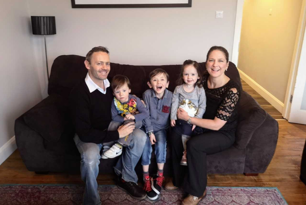 Clidhna and Terry with their children Donagh and Caoila, and Tadhg (centre).