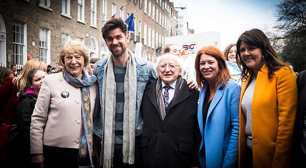President Michael D Higgins and his wife Sabina with Bliain na Gaeilge 2018 ambassadors Eoghan McDermott, Bláthnaid Ní Chofaigh and Lynette Fay
