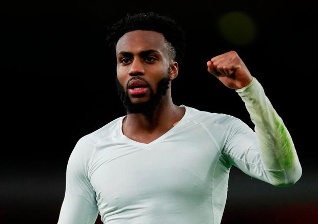 Tottenham's Danny Rose celebrates at the end of the match
