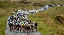 A general view of the main group during the An Post Rás. Ballina - Ballinamore. Picture credit: Paul Mohan / SPORTSFILE