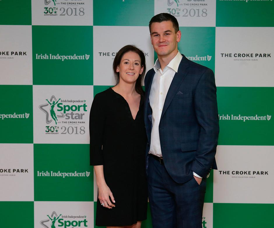 20/12/2018, Johnny Sexton and his wife Laura at the Irish Independent Sportstar of the year Awards at Croke Park. Picture credit; Damien Eagers / INM