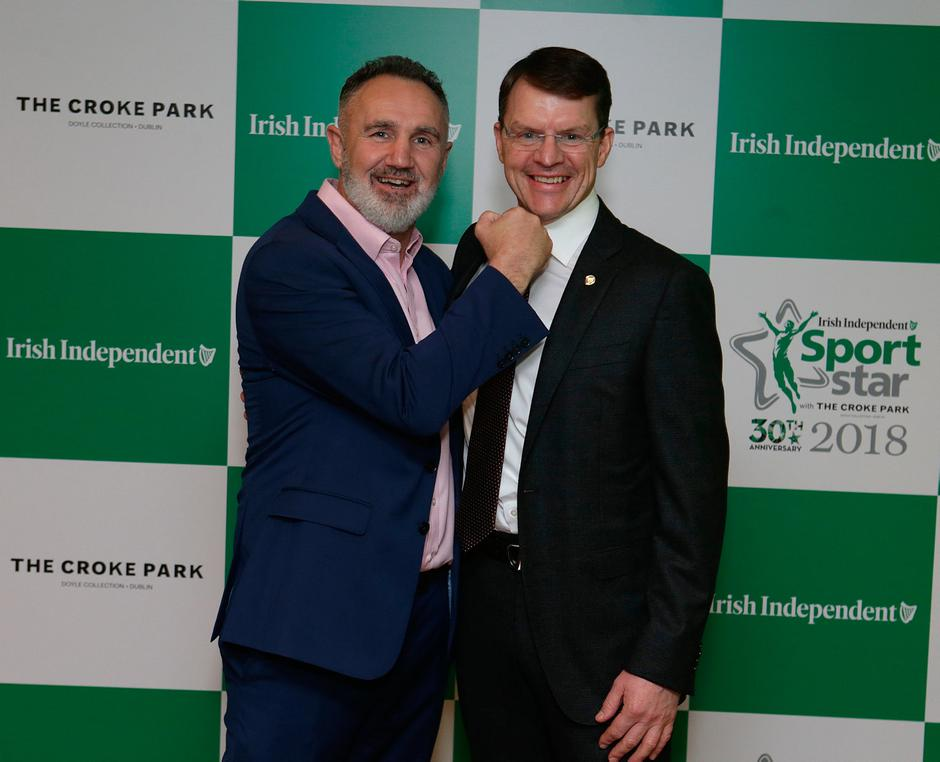 20/12/2018, Boxing coach, Billy Walsh and Trainer Aidan O'Brien at the Irish Independent Sportstar of the year Awards at Croke Park. Picture credit; Damien Eagers / INM