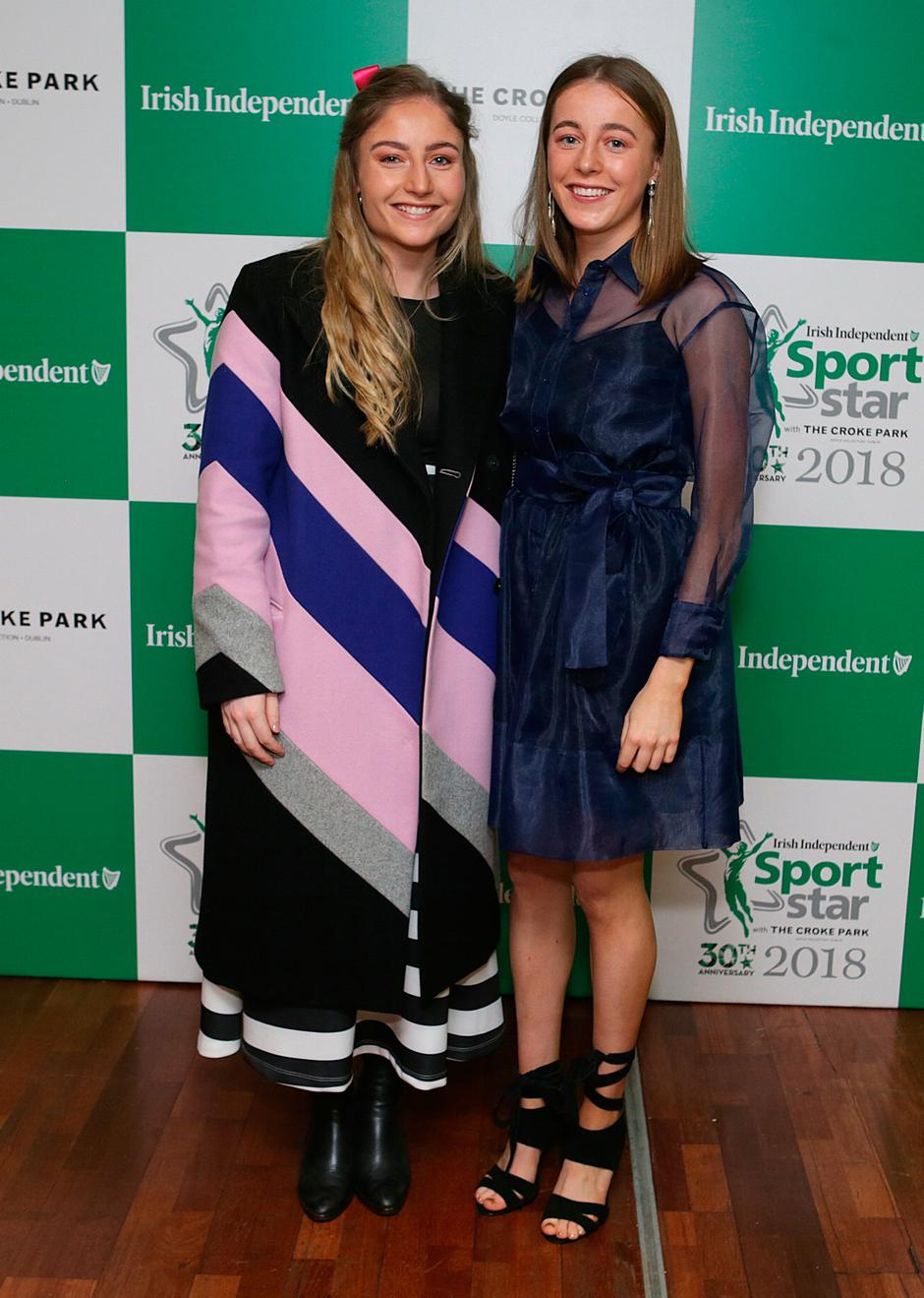 20/12/2018, Sarah Healy (right) with her sister Julia. Sarah won the young sportsstar of the year award at the Irish Independent Sportstar of the Year Awards at Croke Park. Picture credit; Damien Eagers / INM