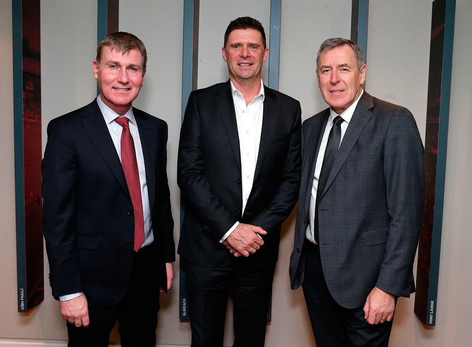 20/12/2018, From l to r are, Stephen Kenny, Ireland U21 manager, Niall Quinn and Packie Bonner. The Euro 88 Ireland team won the Hall of Fame award at the Irish Independent Sportstar of the Year Awards at Croke Park. Picture credit; Damien Eagers / INM