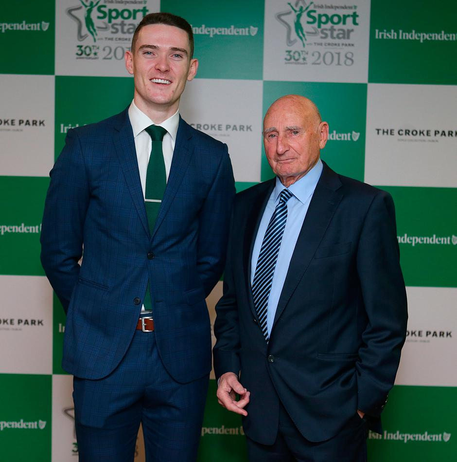 20/12/2018, Dublin footballer, Brian Fenton and Mickey Whelan, former Dublin manager at the Irish Independent Sportstar of the Year Awards at Croke Park. Picture credit; Damien Eagers / INM