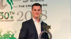 20/12/2018, Johnny Sexton, Ireland rugby international, who was presented with the Sports Moment of the Year award at the Irish Independent Sportstar of the Year Awards at Croke Park. Picture credit; Damien Eagers / INM