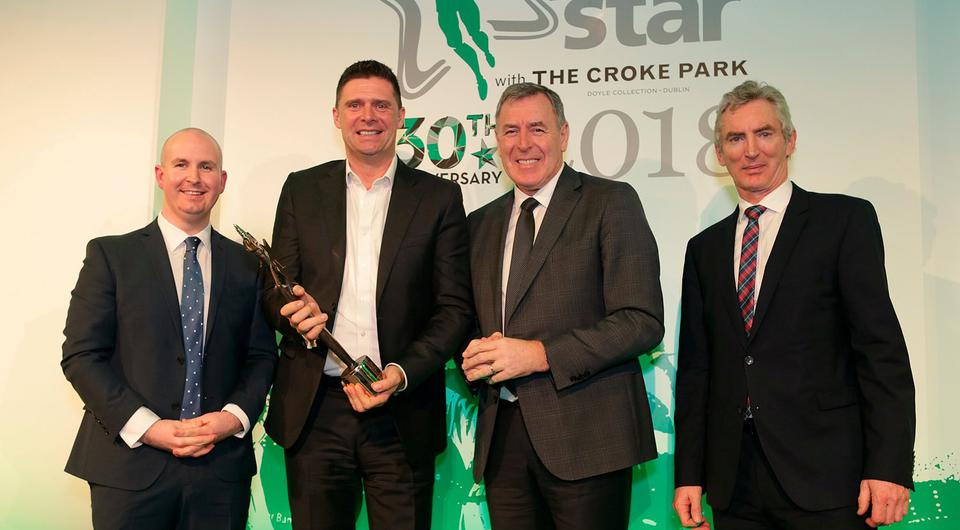 Niall Quinn and Packie Bonner, are presented with the Hall of fame award by Alan Smullen, left, general manager, of the Croke Park Hotel, and Michael Doorly, CEO of INM at the Irish Independent Sports Star of the year Awards at Croke Park. Photo: Damien Eagers / INM