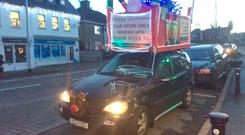 Controversy: the 'sleigh' on top of Kevin Daly's car