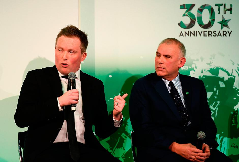 Irish Independent Football Correspondent Daniel McDonnell, left, and former Ireland rugby player Tony Ward speaking during the Irish Independent Sports Star of the Year Awards at Croke Park in Dublin. Photo by Harry Murphy/Sportsfile