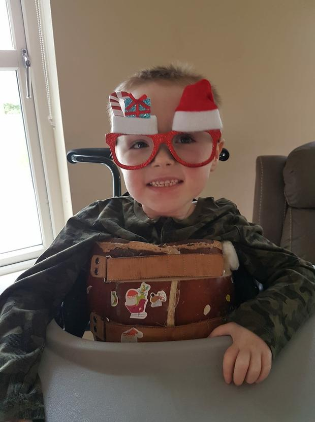 Billy Goulding, six, who's back at the family home for Christmas