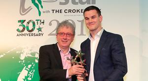 20/12/2018, Irish Independent journalist, Billy Keane presents his godson, Johnny Sexton, with the Sports star of the year award at the Irish Independent Sports Star of the year Awards at Croke Park. Picture credit; Damien Eagers / INM